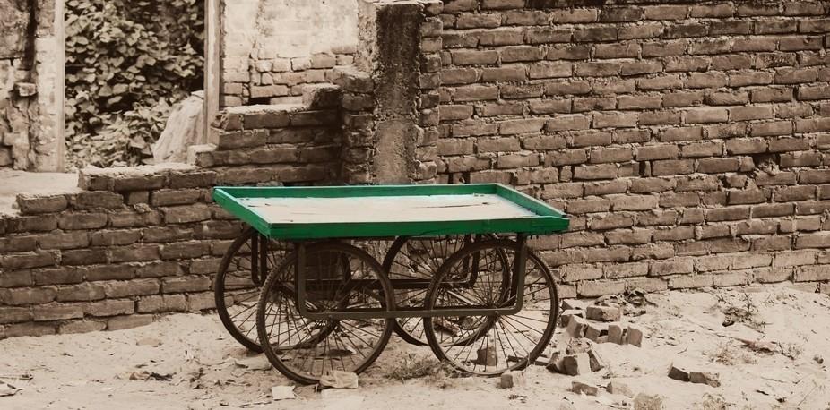 an abandoned tehla (Hand-propelled wheel cart)