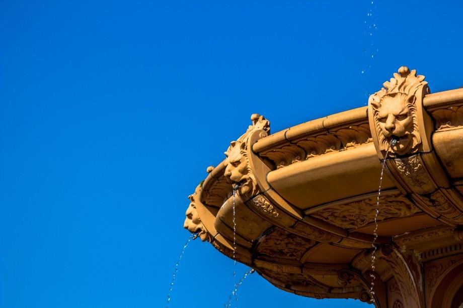 Terracotta lions in a fountain
