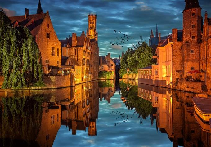 Bruges Blue Hour by NickMoulds - Architecture And Reflections Photo Contest