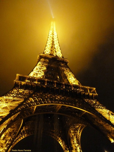 Eiffel Tower on a foggy night of late November