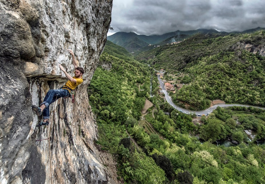 This was taken at the Erboristeria crag in Finale Ligure just before the thunderstorm hit. A superb location with some brilliant climbing.   Climber: Martin Mckenna