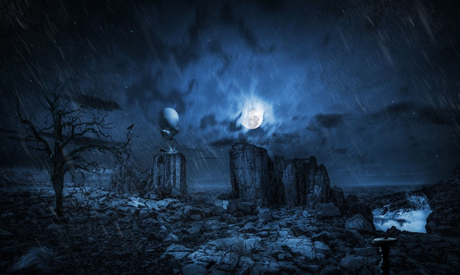 This is a composite mindscape of an already exotic location, the old Granite Quarry near Bomba Be...