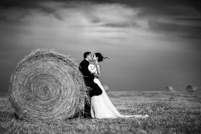 Hay bales wedding in Italy by alessandroavenali - Black And White Compositions Photo Contest