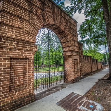 One of the many gates in the fence surrounding the South Carolina Department of Mental Health's old State Hospital grounds.