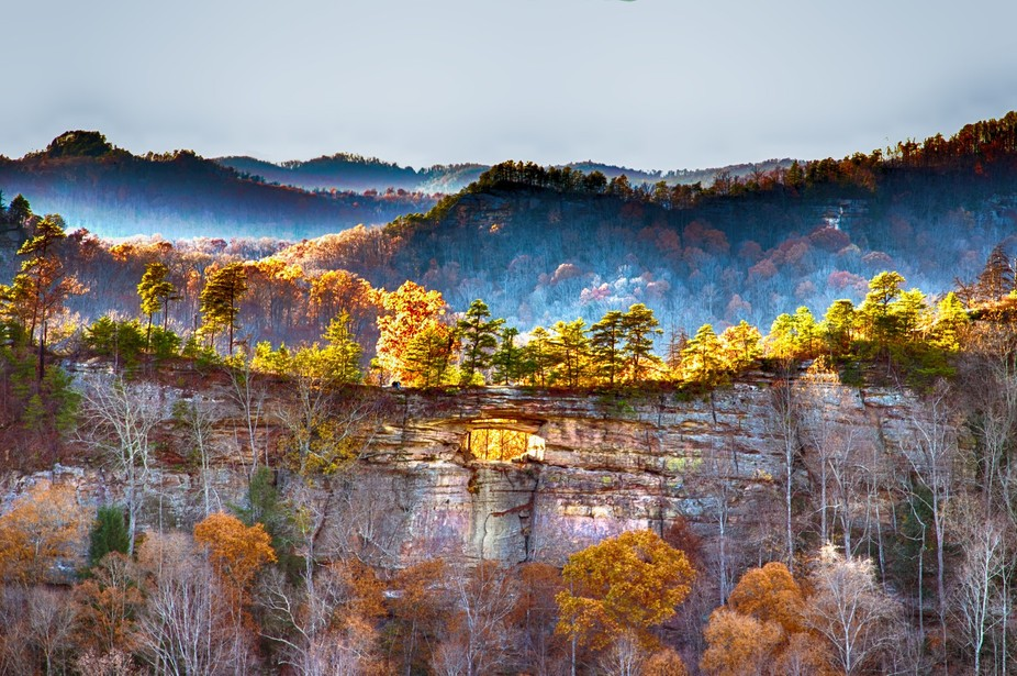 This is a view of the Double Arch in Red River Gorge in the evening right before sunset.