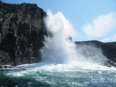 Waves braking onto cliffs on Bruny Island, Tasmania