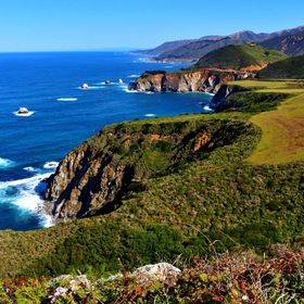 View looking north from Hurricane Point on California Highway One, just south of the Bixby Bridge.