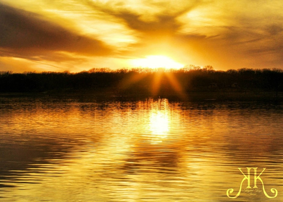 Sunset on the lake.  So brilliant and golden it was unbelievable.