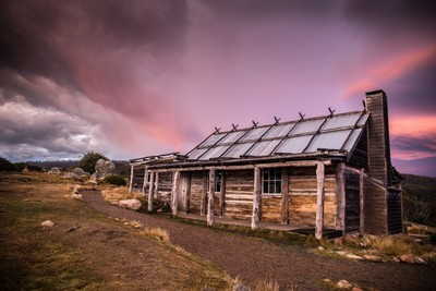 Sunrise and Craigs hut Mt Stirling Victoria Australia