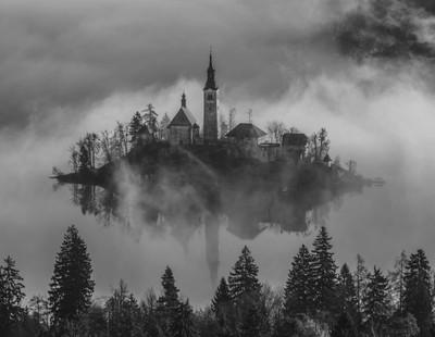 Church on the Island in Mist Sunrise