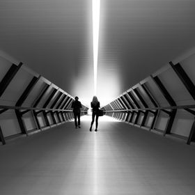 www.LondonFineArtPhotography.co.uk The futuristic tunnel linking London Underground and the Cross Rail, very space age.