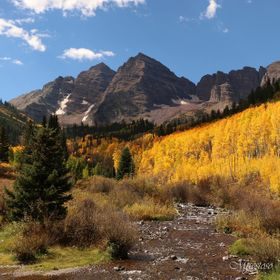 Maroon Bells located in Aspen, CO in the fall.