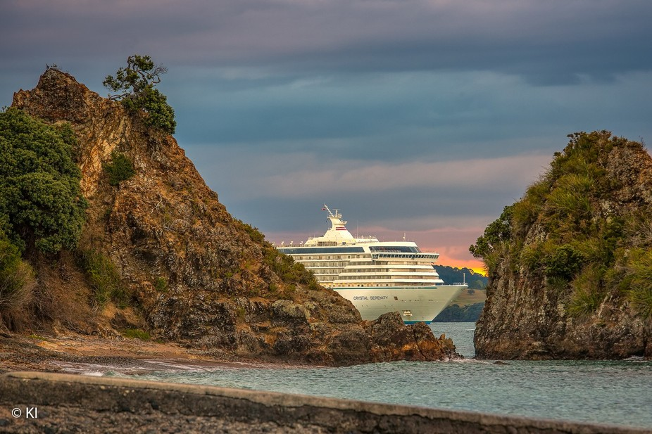 A cruise ship leaving Bay of Islands, New Zealand