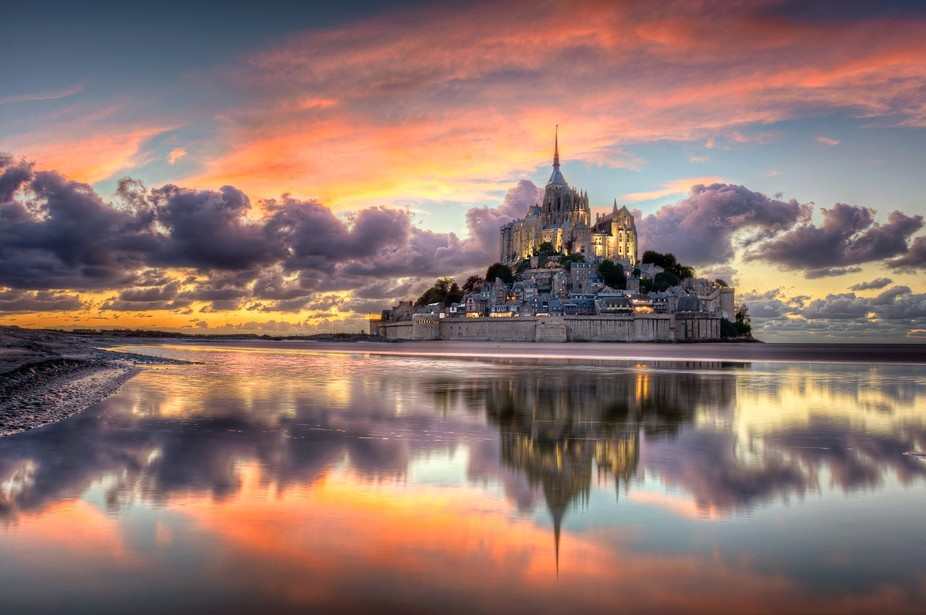 The Mont Saint-Michel is situated in the south Normandy, France. It is an incredible and surreal ...