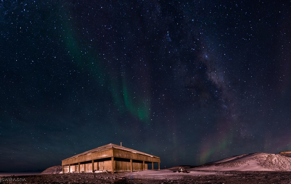 Woke up at 4am to get a shot of the hut with the Milky Way and was awarded the addition of Aurora...