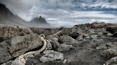 Old Rope and Fishing Boat, Stokksnes, Iceland