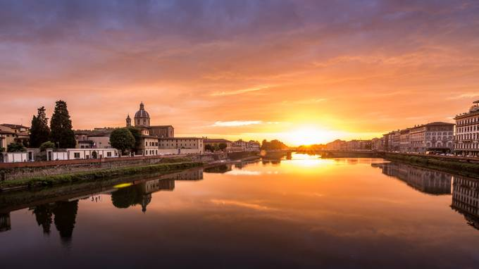 Sunset over the Arno River, Florence, Italy by AMills - Sunset In The City Photo Contest