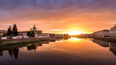 Sunset over the Arno River, Florence, Italy