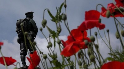 Monument to World War with Poppies