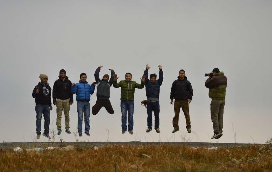 Trying a levitation shot with friends.