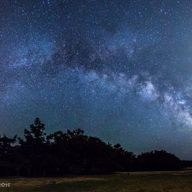 A pano of the night sky surrounding Cape Hatteras Lighthouse on North Carolina's OBX coastline.