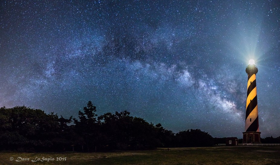 A pano of the night sky surrounding Cape Hatteras Lighthouse on North Carolina\'s OBX coastline.
