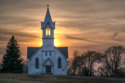 Country Church at Sunset