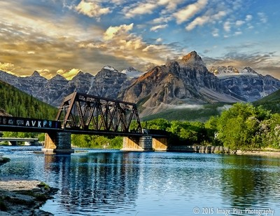 River and mountains and Train