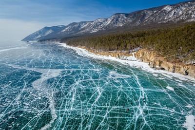 Frozen water of lake Baikal