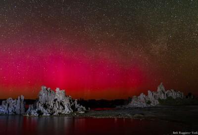 Red Aurora over Mono Lake