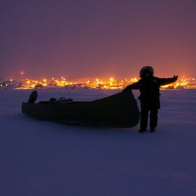 Canoe is ready to head out to the flow edge for seal hunting.