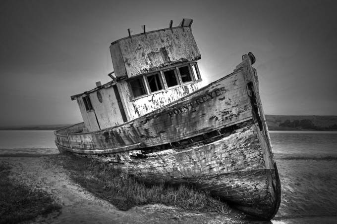 POINT REYES SHIPWRECK (B&W) by Canonfire - Black And White Wow Factor Photo Contest