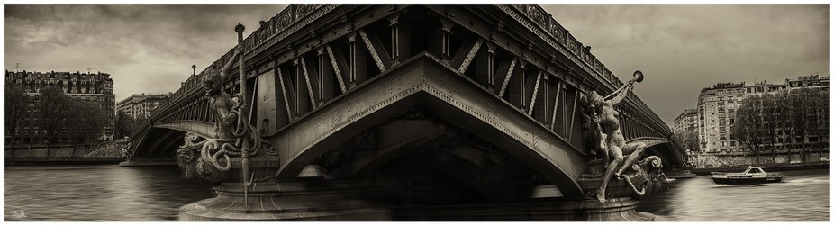 This is a composite of two images taken either side of a pont (bridge) in Paris.