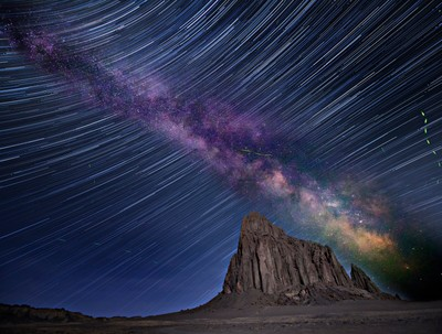 Star Trails, Milky Way, and Fireflies Up And Above Shiprock