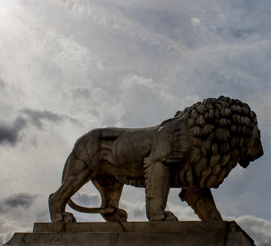 A statue of a lion, Palace de Concorde, Paris.