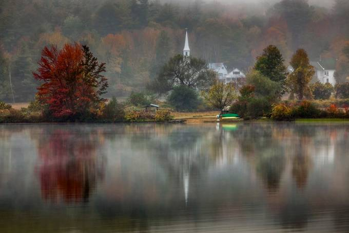 Crystal Lake Church,Eaton,NH by JesusRodriguez - Lakes And Reflections Photo Contest