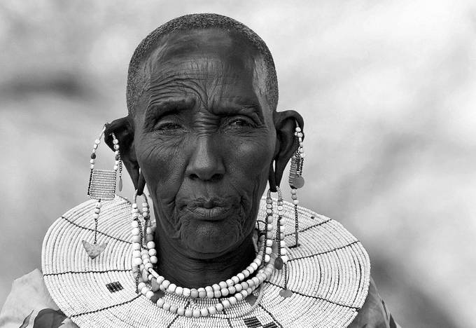 Masai Grandma b&w by lmr337 - Cultures of the World Photo Contest