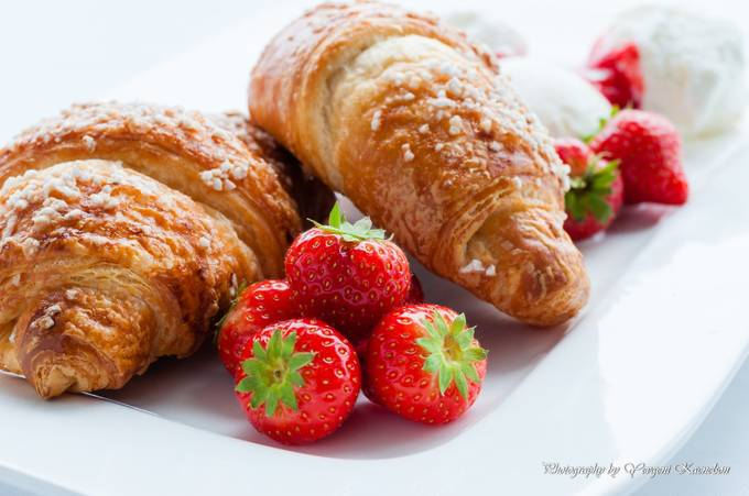 Decorated food. Croissants with strawberries and ice cream by ykd - Looks Delicious Photo Contest