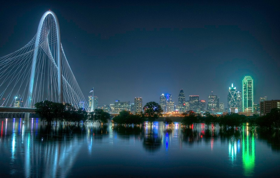 Downtown Dallas and the Margaret Hunt Hill Bridge from the west levee of the Trinity River.