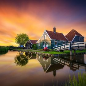 Zaanse Schans, The Netherlands.  This was taken last week right after sunset. Zaanse Schans is a famous windmill village in the Netherlands that ...