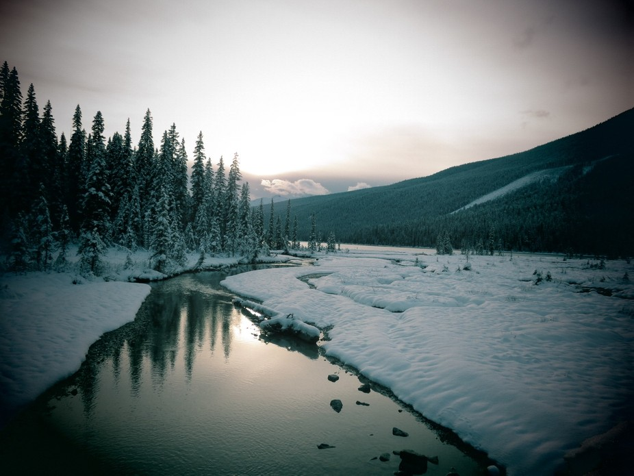 On our hike around Emerald Lake (covered with snow) and the sun was setting and it was just ideal...