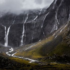 Waterfalls near the mouth of the Homer Tunnel