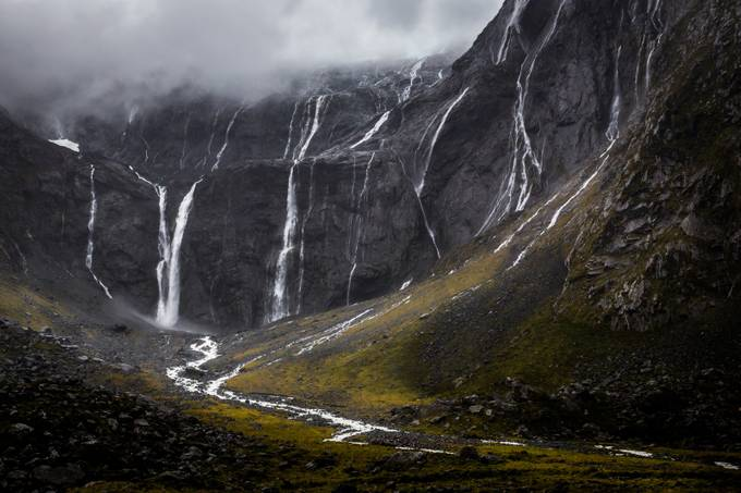 Waterfalls near the mouth of the Homer Tunnel by travisdaldy - Around the World Photo Contest