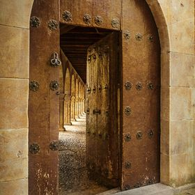 door and cloister of the convent of Las Duenas, Salamanca