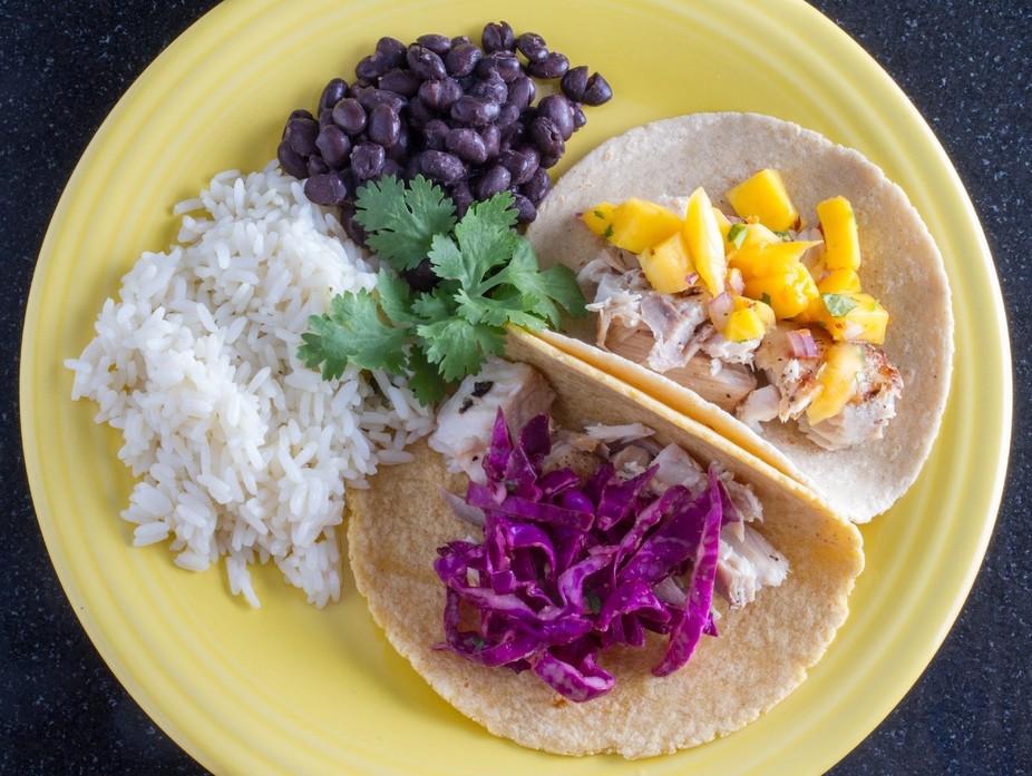 Mahi Mahi tacos with rice and black beans