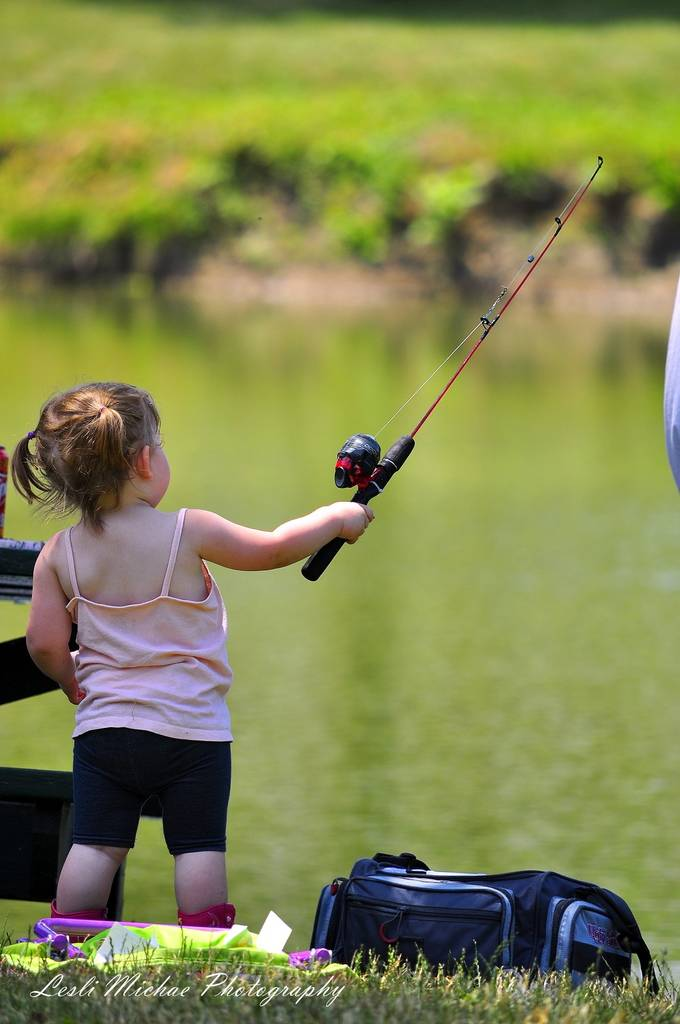 Little girl with fishing pole by leslimichaephotography for Little girl fishing pole