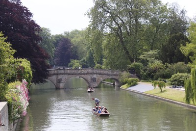 Punting along the River Cam in Cambridge