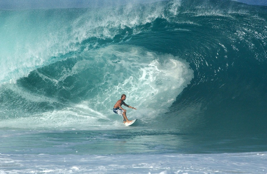 """"""" FEARLESS"""" This image was taken in Hawaii 2004 of a Surfer at Pipeline."""