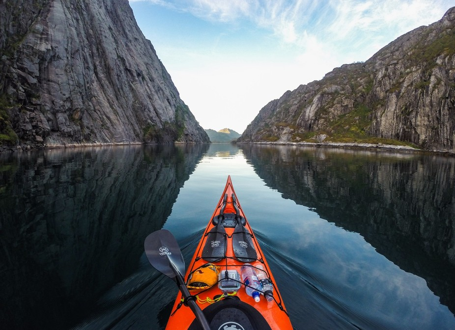Night paddle in Trollfjord