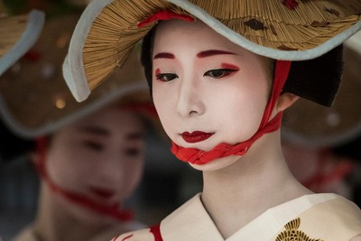 Geiko during a procession, Gion, Kyoto